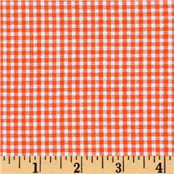 Woven Poly/Cotton Seersucker Gingham Orange Fabric