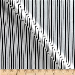 Charmeuse Satin Ticking Stripes Black