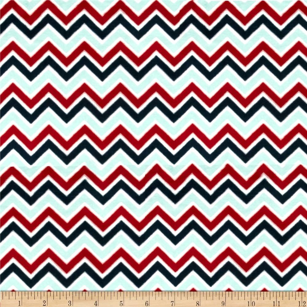 Minky Cuddle Classic Mini Zig Zag Aqua/Red/Slate