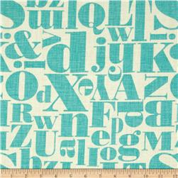 Michael Miller Just My Type Letterpress Teal Fabric