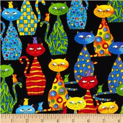 Timeless Treasures Packed Cats Black Fabric