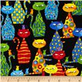 Timeless Treasures Packed Cats Black