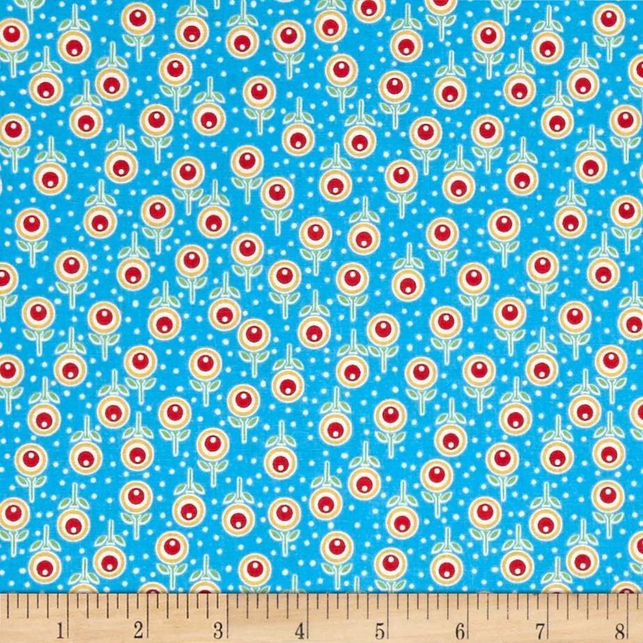 Penny Rose Chatterbox Aprons Floral Blue Fabric
