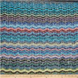 Sweater Knit Wave Pattern Blue/Turquoise/Peach