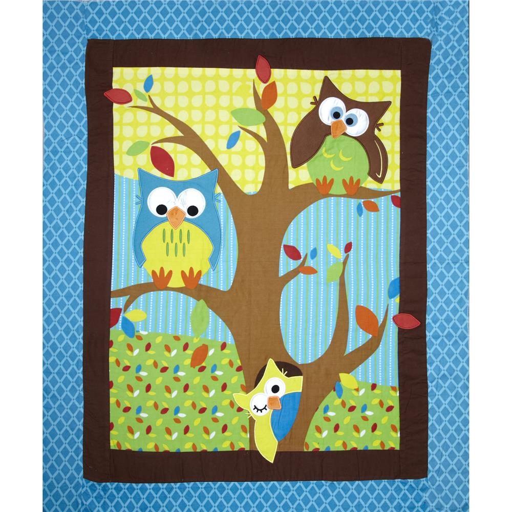"Bright Owl Flannel Quilt Top Turquoise 38"" Panel"