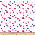 Flannelland Floating Hearts White/Pink