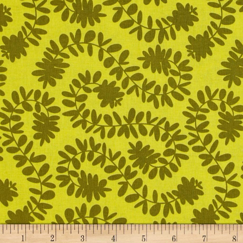 Michael Miller Pretty Bird Vines Olive Green