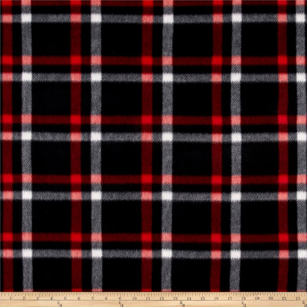 Polar Fleece Print Club Plaid Black Red White Fabric