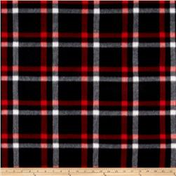 Polar Fleece Print Club Plaid Black Red White