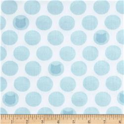 Kaufman Little Prints Double Gauze Cat Dot White/Sky