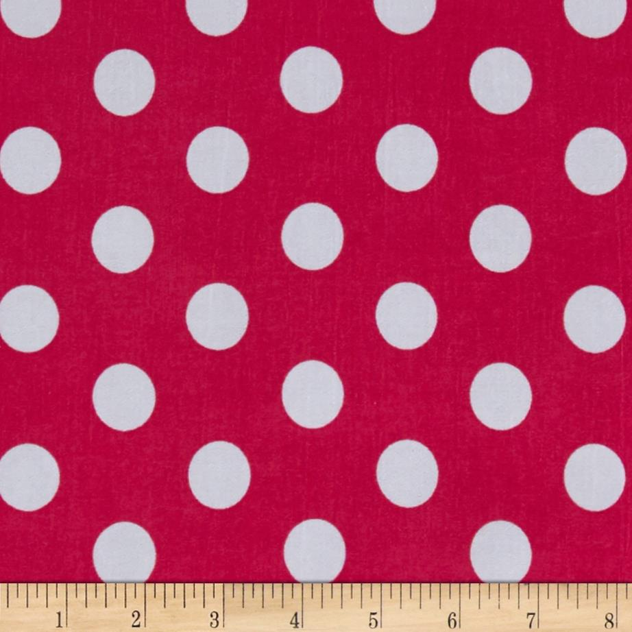 Stretch ITY Jersey Knit Dot Fuchsia and White