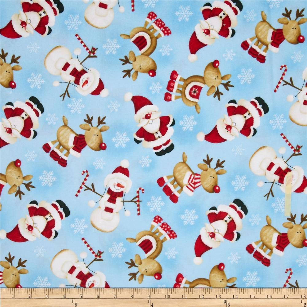 Timeless Treasures Christmas Flannels Winter Character Toss Sky
