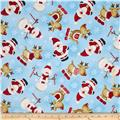 Timeless Treasures Holiday Flannel Christmas Flannels Winter Santa and Reindeer Sky