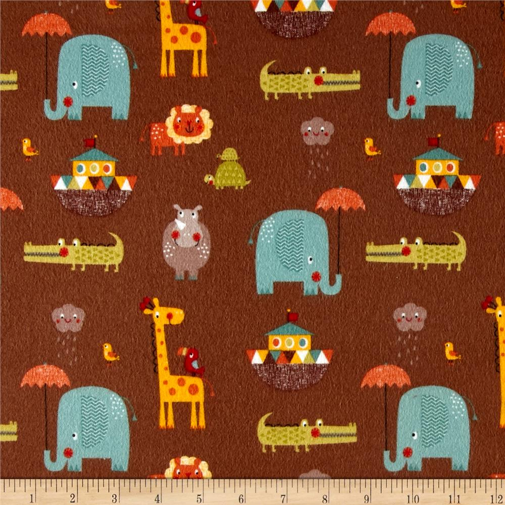 Riley Blake Giraffe Crossing 2 Flannel Main Brown Fabric