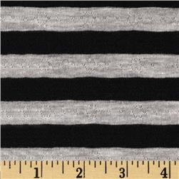 Yarn Dyed Pointelle Jersey Knit Stripe Grey/Black Fabric