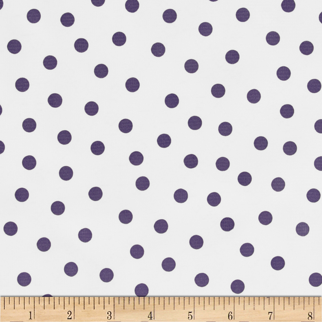Oil Cloth Polka Dot White/Purple Fabric
