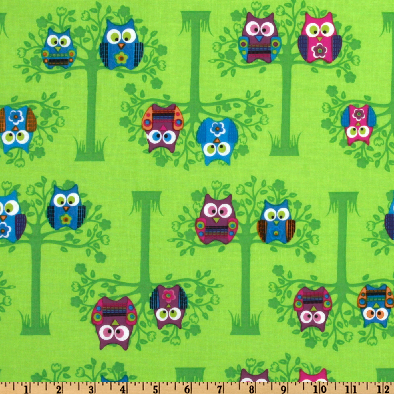 Owls Sitting Pretty Green Fabric
