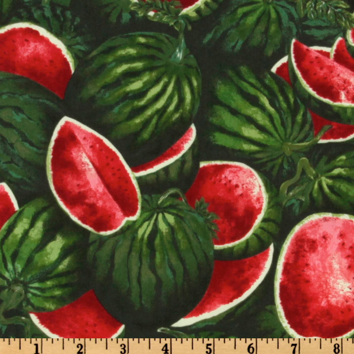 Farmer John's Marketplace II Watermelon Green Fabric