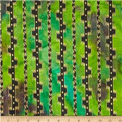 Indian Batik Urban Ethnic Stripe Metallic Green