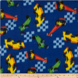 Printed Fleece Racecars Blue