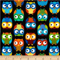 Timeless Treasures Flannel Owls Black