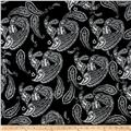 Alanna Resort Stretch ITY Knit Paisley Prints Black/White