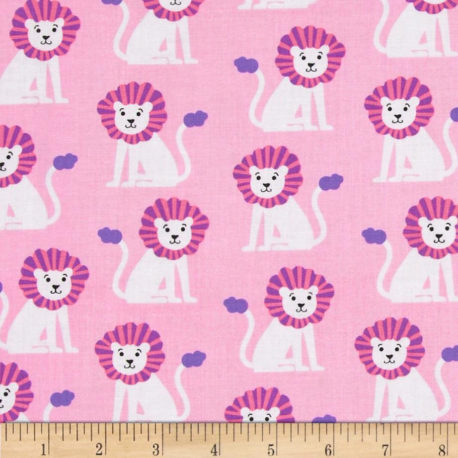 Michael Miller Zoo Littles Girls Things Mini Lions Pink