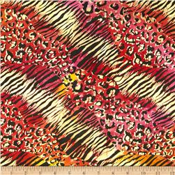 Indian Batik Urban Ethnic Animal Skin Metallic Red