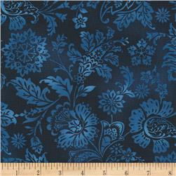 Timeless Treasures True Blue Tonal Jacobean Navy