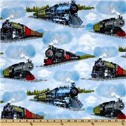 Timeless Treasures Planes, Trains & Automobiles Trains Blue