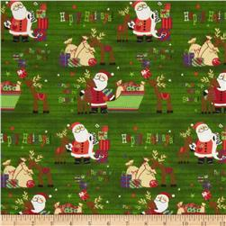 Season's Greetings Santa & Reindeer Green