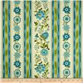 Timeless Treasures Emma Blue Jacobean Floral Border Aqua