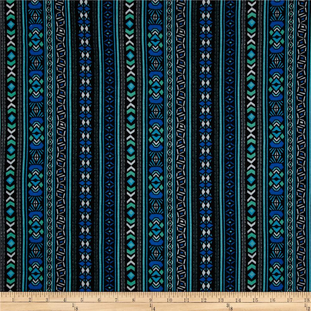 Stretch Rayon Jersey Knit Vertical Aztec Stripe Black/Royal/Mint