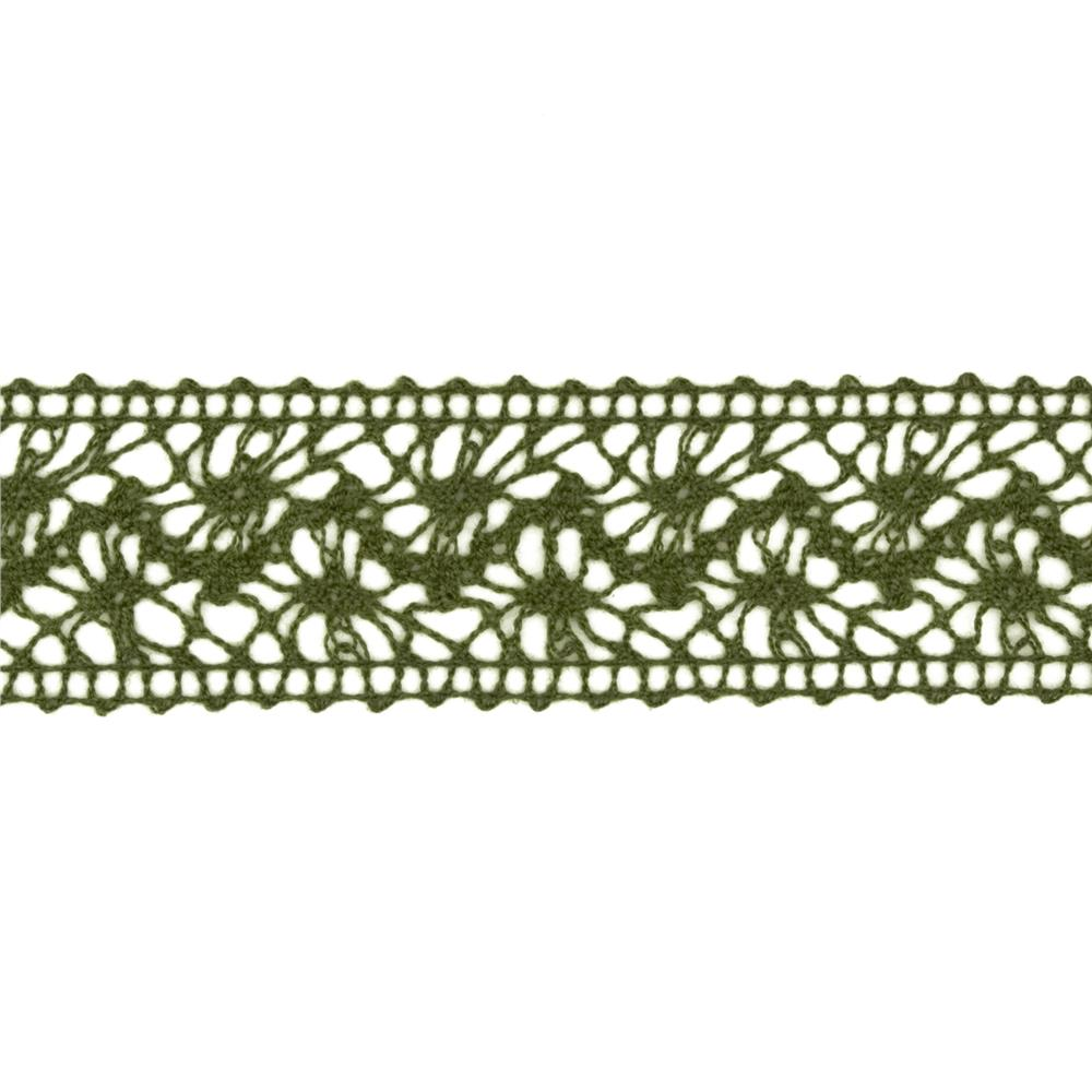1 1/2'' Crochet Lace Ribbon Dark Olive