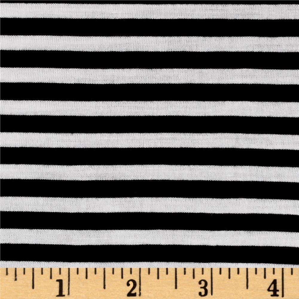 Polyester Spandex Jersey Knit 1/4'' Stripe Black/Off White Fabric By The Yard