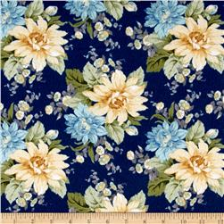 Blue Drama Fancy Flannel Large Floral Blue