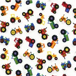 Timeless Treasures Little Farm Tractors White Fabric