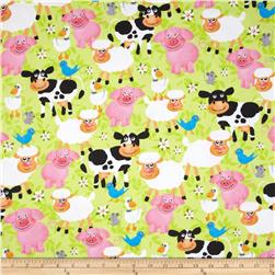 Flannel Smiling Animals Green Fabric