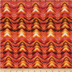 Stretch Jersey Knit Chevron Illusion  Orange/Black/Fuchsia