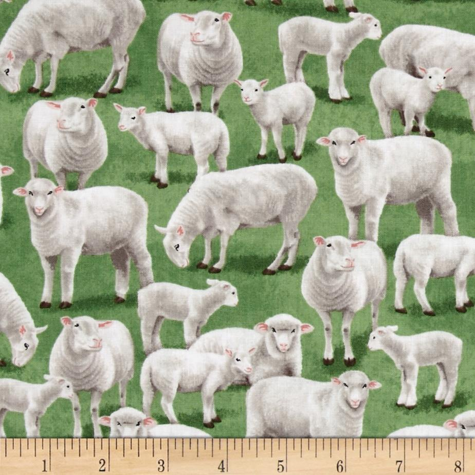 Timeless Treasures Sheep Green