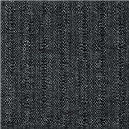 Stretch Hatchi Rib Knit Heather Dark Grey Fabric