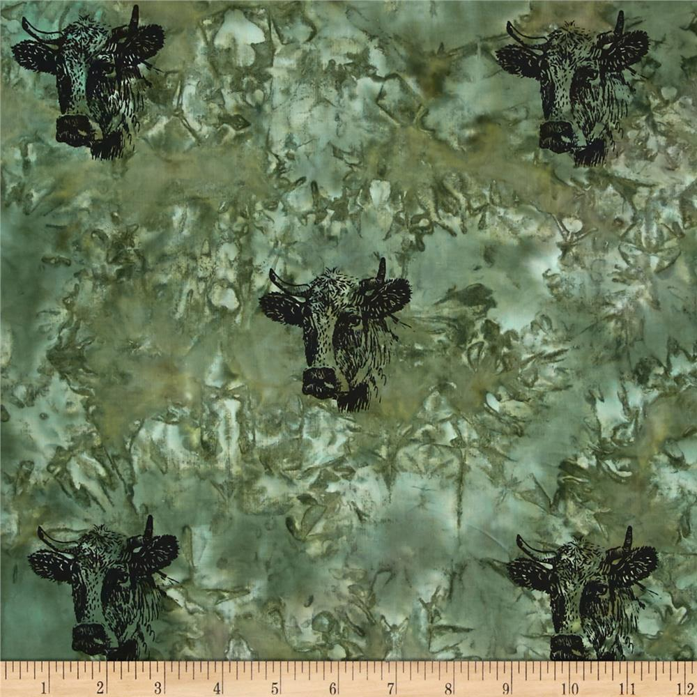 Indian Batik Animal Planet Steer Green