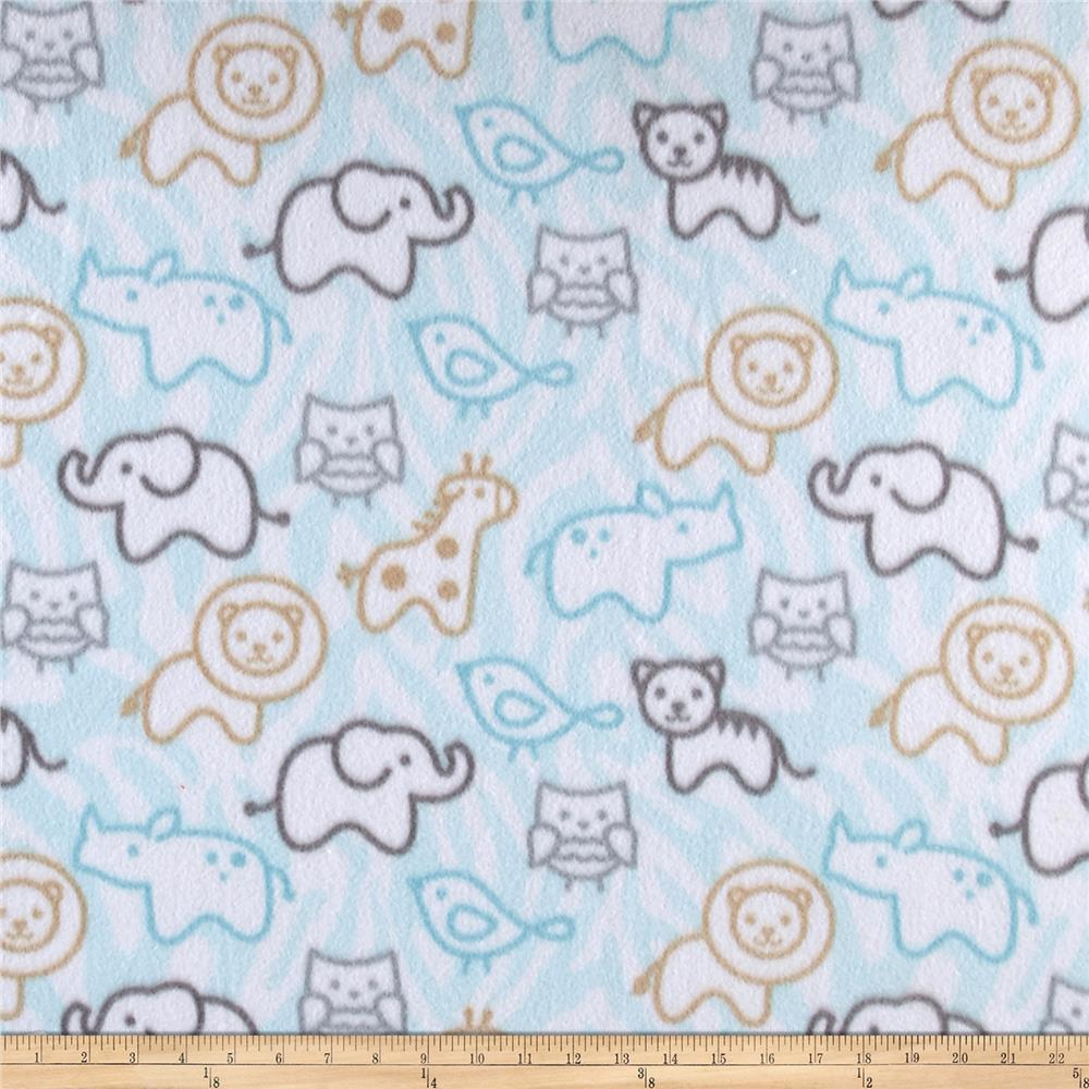 Fleece Print Baby Animals Blue Fabric By The Yard