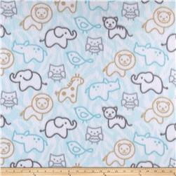 Fleece Print Baby Animals Blue