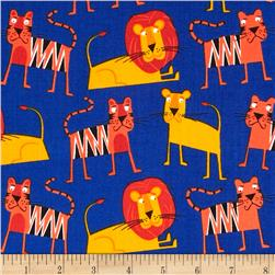 Jungle Party Lions & Tigers Bright Fabric