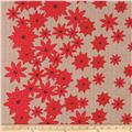 Moda Winter's Lane Poinsettias Grey