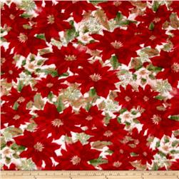 Poinsettia Fleece Allover Red