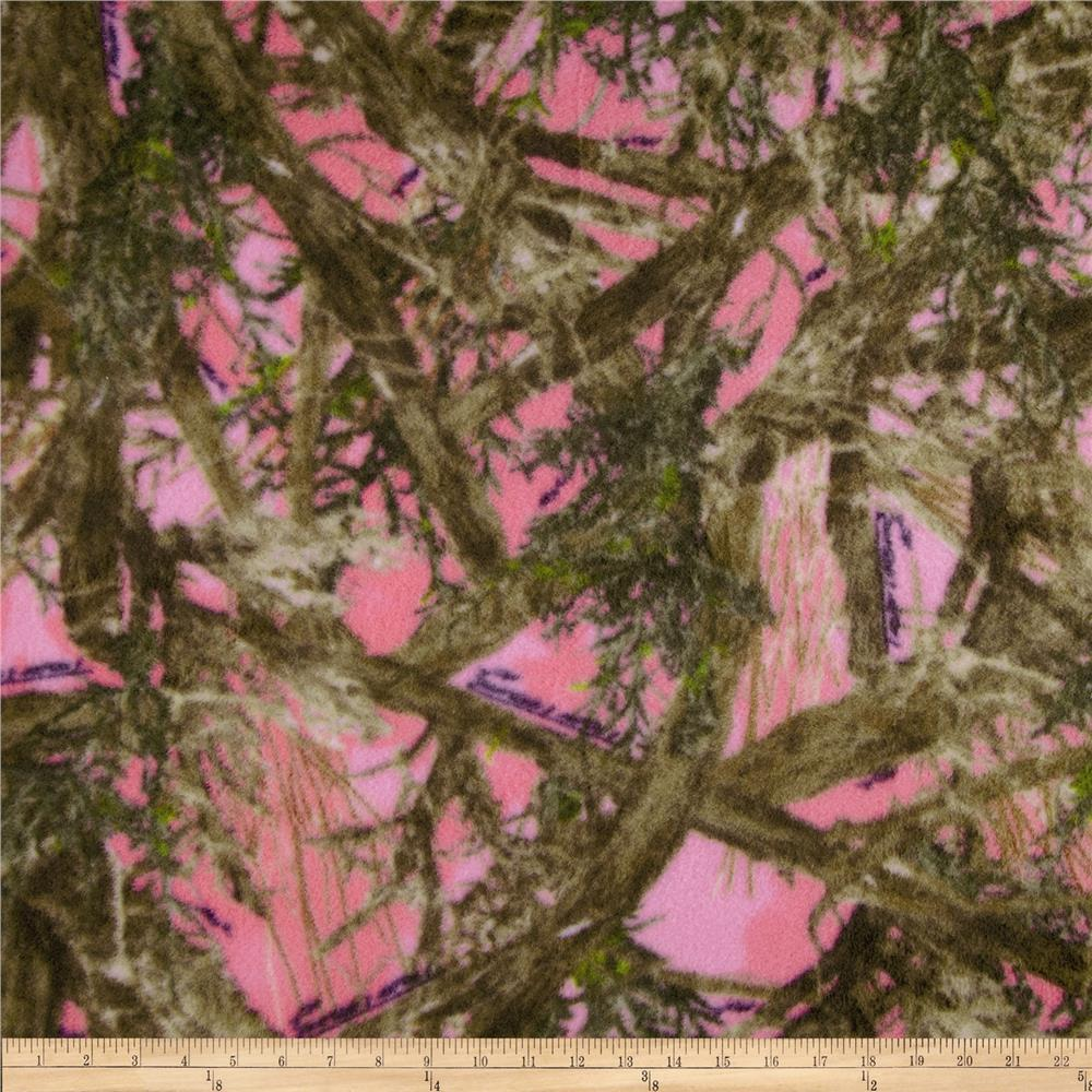 True Timber Fleece MC2 Pink/Multi Fabric By The Yard