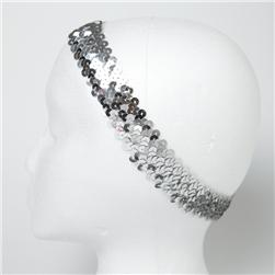 "1 1/4"" Metallic Sequin Stretch Headband Silver"