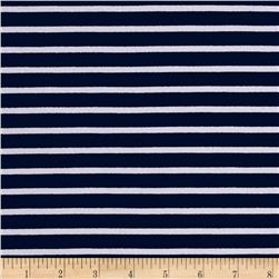 Liverpool Double Knit Print Stripes Navy/White